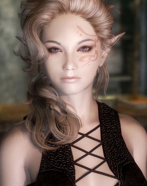 Skyrim Mod Girl Beautification hot model 3d woman